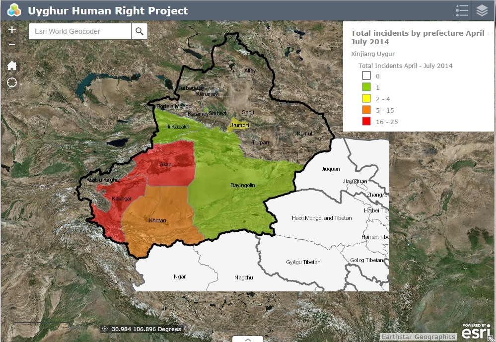 Interactive Mapping For The Uyghur Region In China