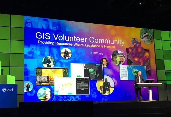 Jack Dangermond acknowledged GISCorps volunteers' efforts