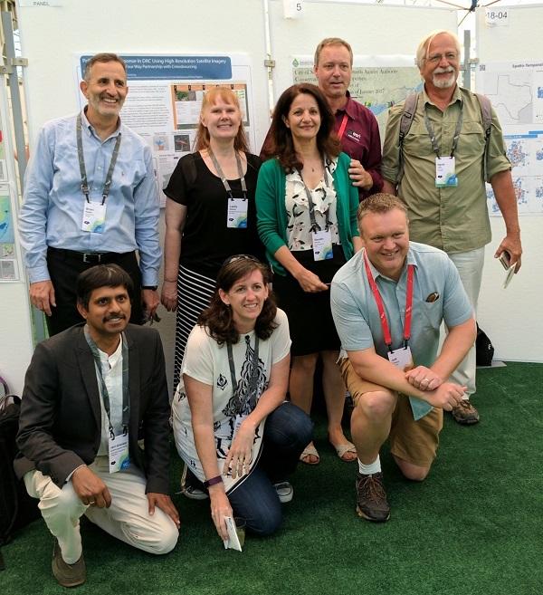 Top from left: Brian (CDC), Leslie & Shoreh (GISCorps), Jon Pedder (Esri), David (GISCorps). Sitting from left: Ravi (WHO), German (GISCorps), Jeff (Esri)