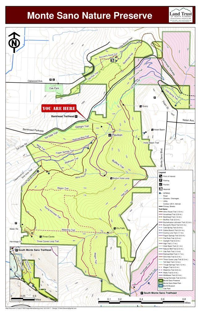 Map of Monte Sano Nature Preserve