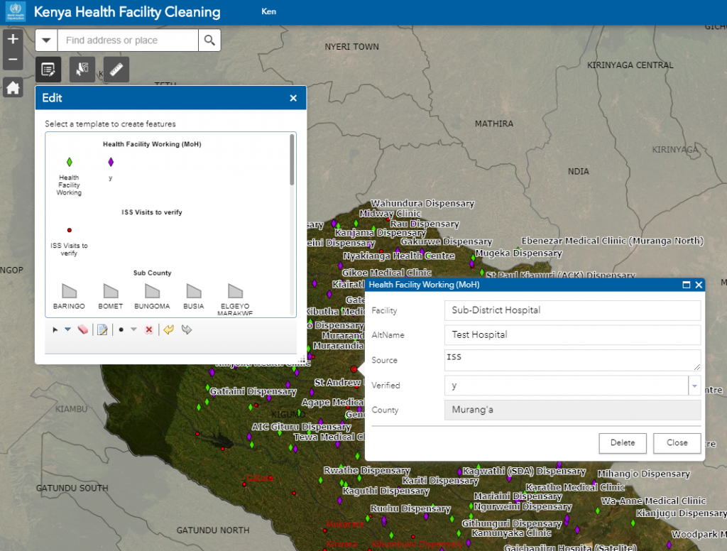 Screenshot of ArcGIS Online app used for this mission