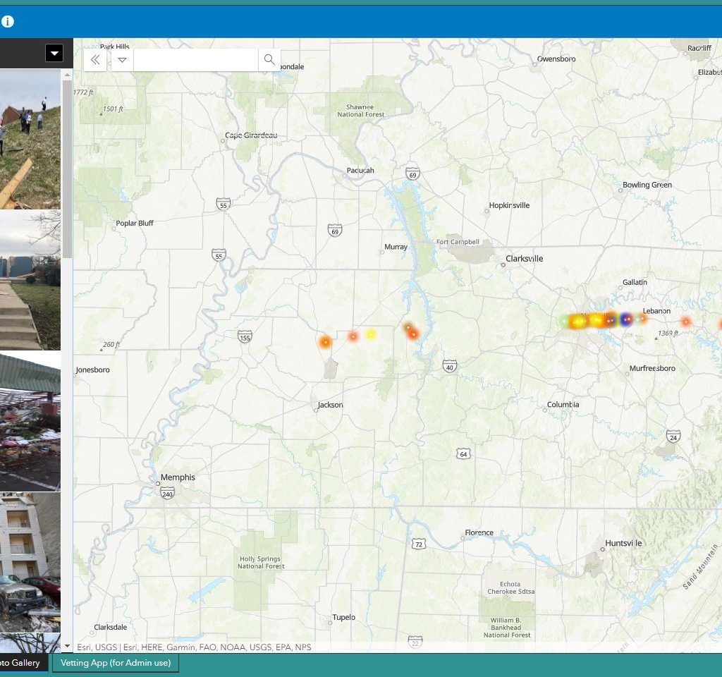 Volunteers geo-locate crowdsourced photos for Middle Tennessee tornadoes