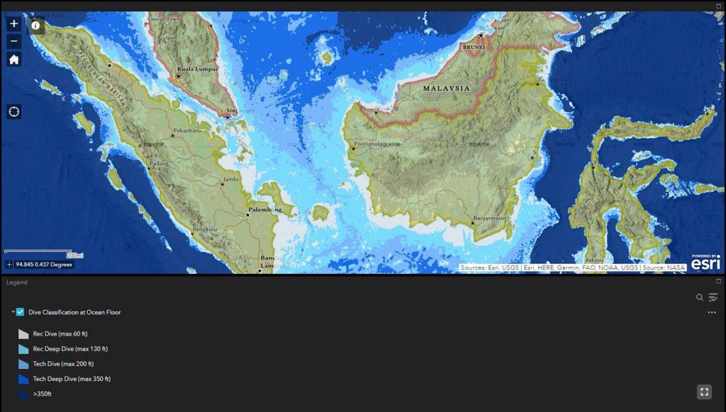 Screenshot of Bill Beuth's SCUBA diveable depths map