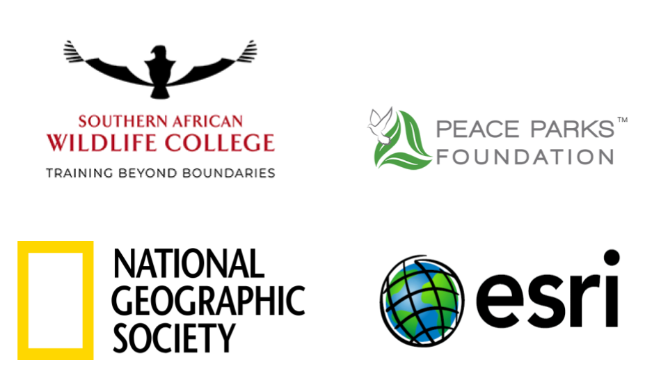 Logos of Protected Area Management partners: the Southern African Wildlife College, Peace Parks Foundation, National Geographic Society, and Esri