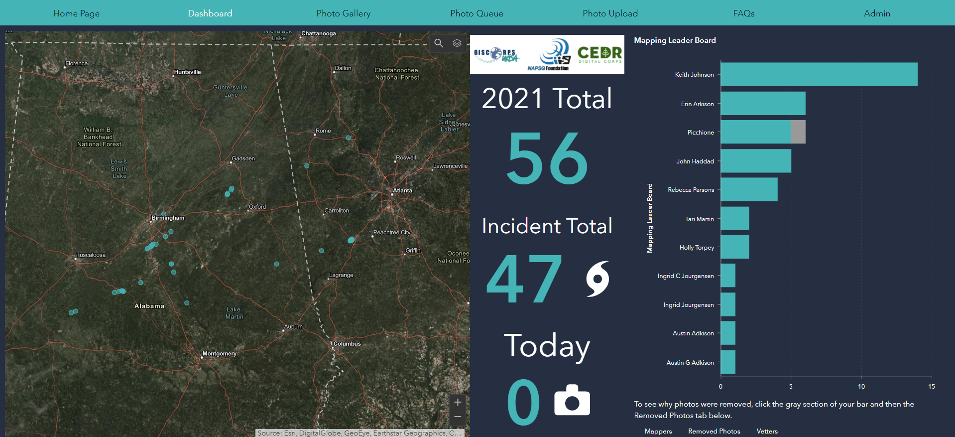 Screenshot Of PhotoMappers Volunteer Portal During The Deep South Tornadoes Activation In March 2021.